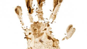 dirty hand print isolated on a white background